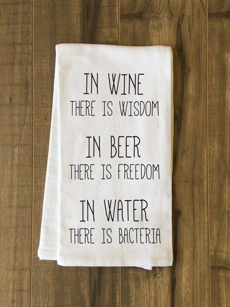 Wine Beer Water Tea Towel by OneBellaCasa.com