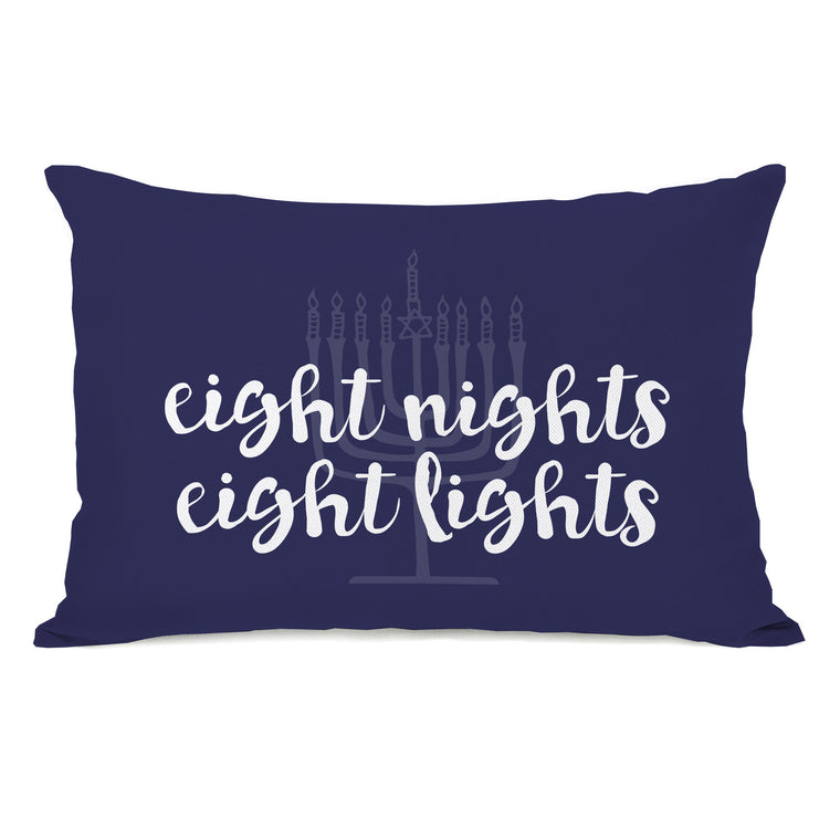 Eight Nights Eight Lights Throw Pillow by OBC