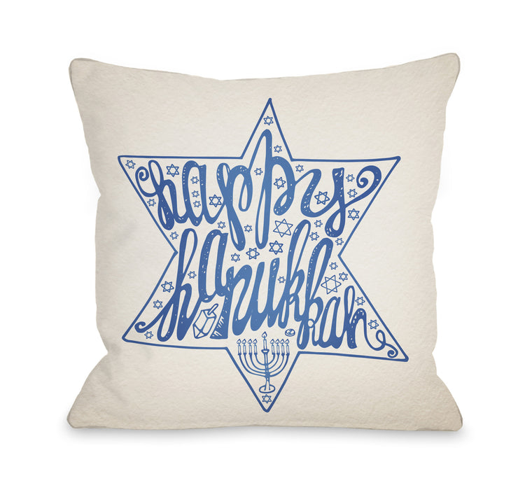 Happy Hanukkah Throw Pillow by OBC