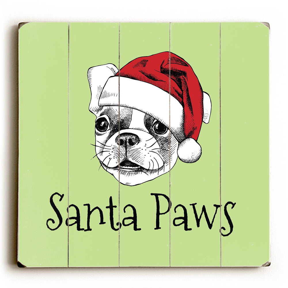 Santa Paws - Green Planked Wood Wall Decor by OBC