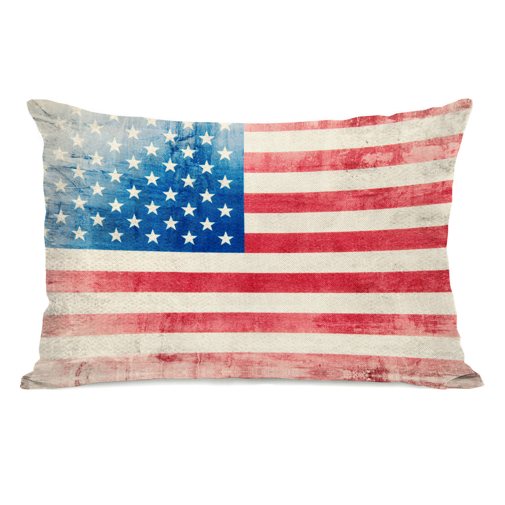 Independence Flag Throw Pillow by OBC