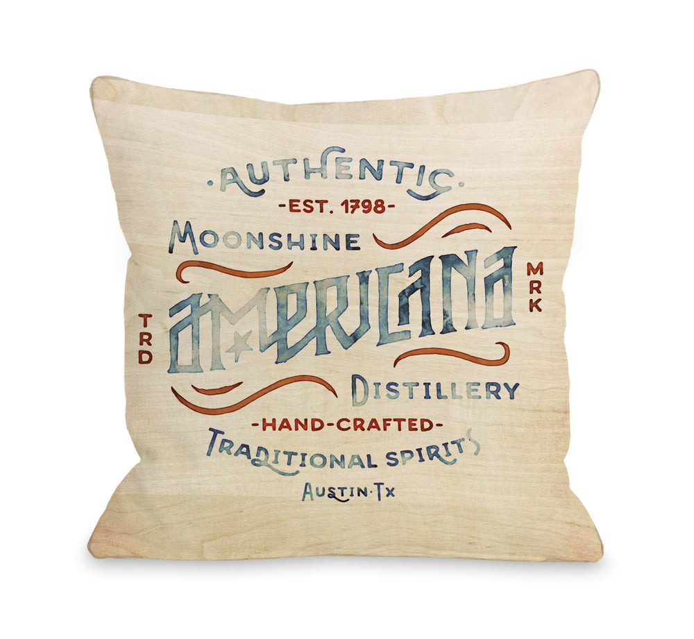 Americana Moonshine Throw Pillow by OBC
