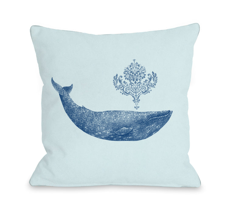Damask Whale Sea - Multi Throw Pillow by Terry Fan