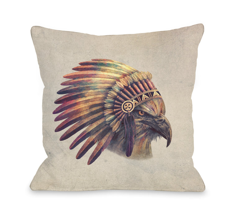 Chief - Multi Throw Pillow by Terry Fan