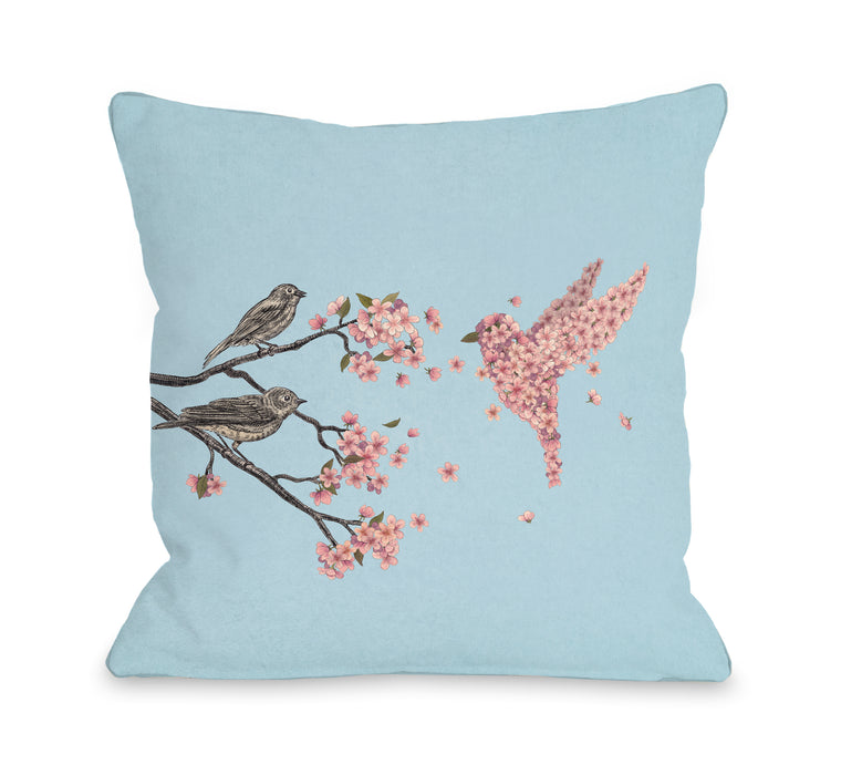 Blossom Bird Sky - Multi Throw Pillow by Terry Fan
