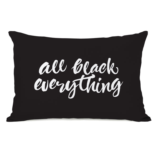 All Black Everything Throw Pillow by OBC
