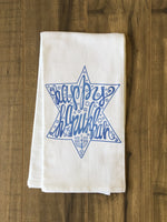 Happy Hanukkah - Blue Tea Towel by OBC