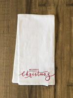 Merry Christmas Lettered - Red Tea Towel by OBC