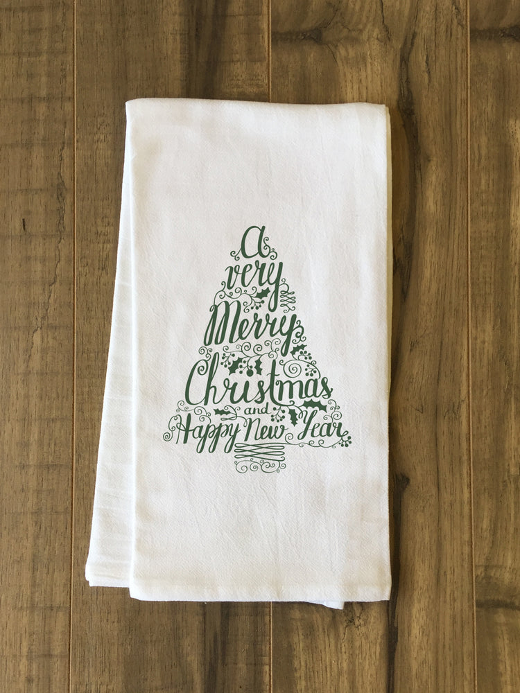 Typography Tree - Green Tea Towel by OBC