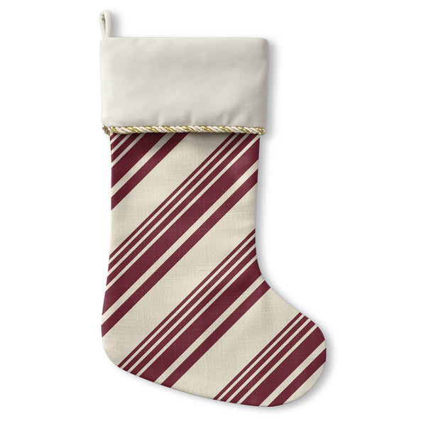 Candy Cane - Cream Christmas Stocking by OBC