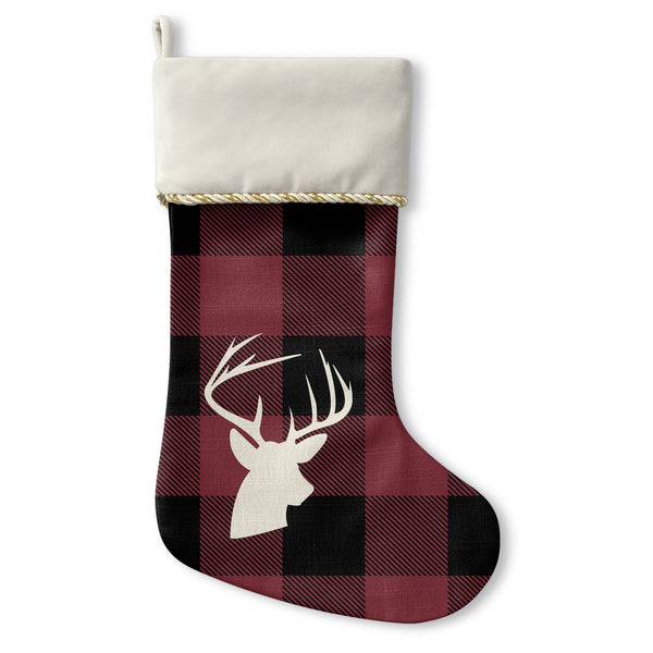 Comet Plaid - Cream Christmas Stocking by OBC