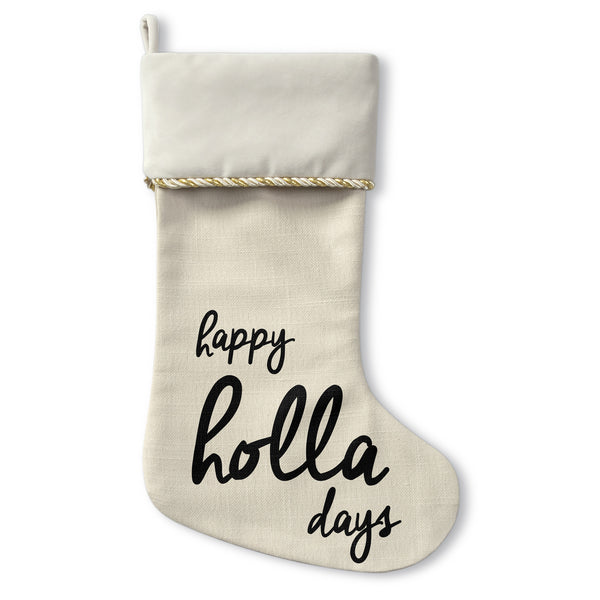 Happy Holla Days - Cream Christmas Stocking by OBC