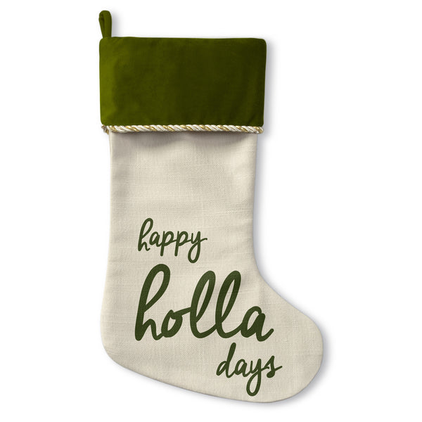 Happy Holla Days - Green Christmas Stocking by OBC