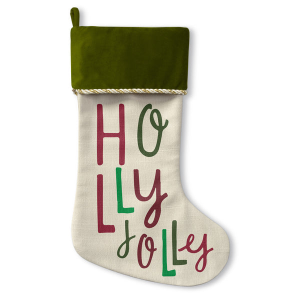 Holly Jolly - Green Christmas Stocking by OBC