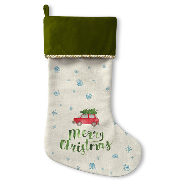 Merry Christmas Car Tree - Green Christmas Stocking by OBC