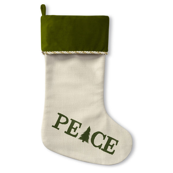 Peace Tree - Green Christmas Stocking by OBC