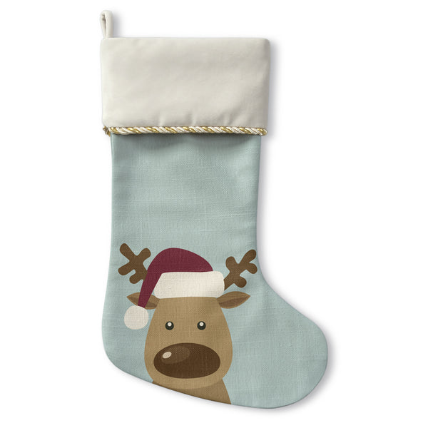 Reindeer - Cream Christmas Stocking by OBC