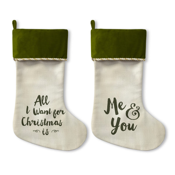 Me And You - Green Christmas Christmas Stocking by OBC