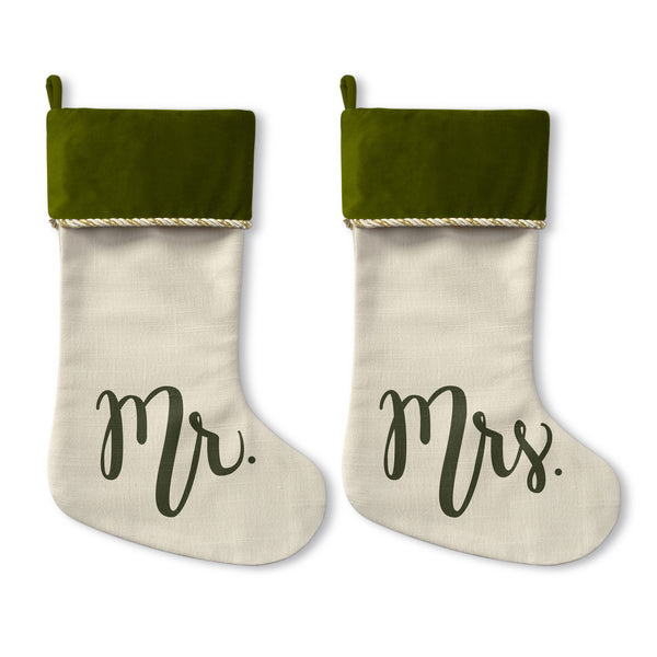 Mister Misses - Green Christmas Stocking by OBC