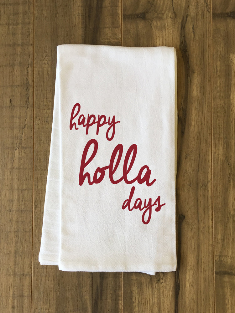 Happy Holla Days - Red Tea Towel by OBC