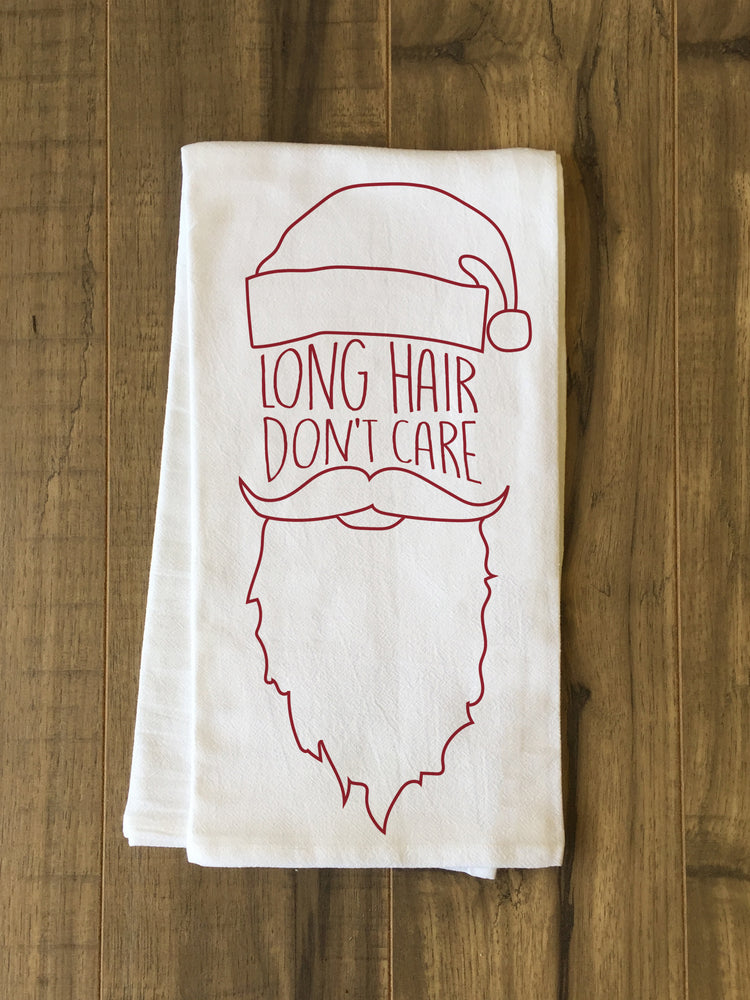 Long Hair Don't Care - Red Tea Towel by OBC