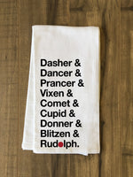 Reindeer Names - Black Tea Towel by OBC