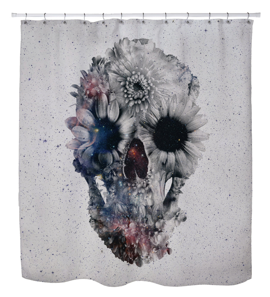 Floral Skull Shower Curtain by Ali Gulec