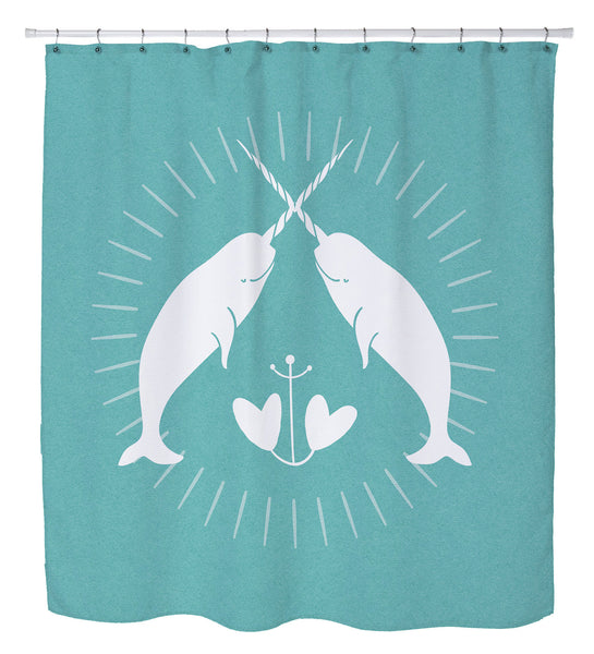 Narwhal Solid Shower Curtain by Cheryl Overton