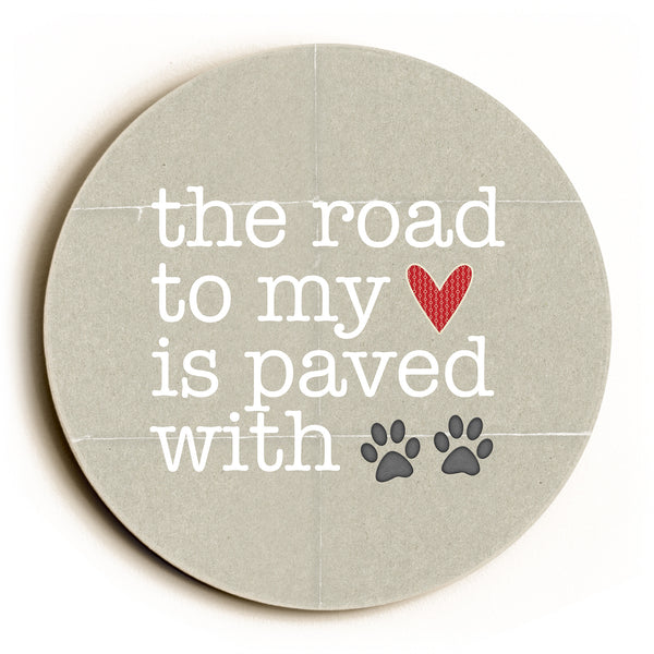 Paved With Pawprints Round Wood Wall D̩cor by Cheryl Overton