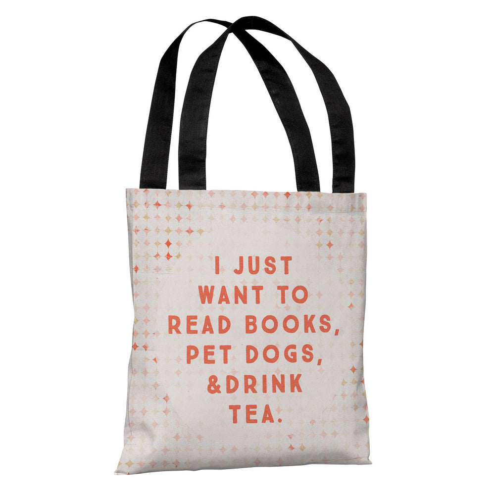 Read Books Pet Dogs Drink Tea Tote Bag by Cheryl Overton