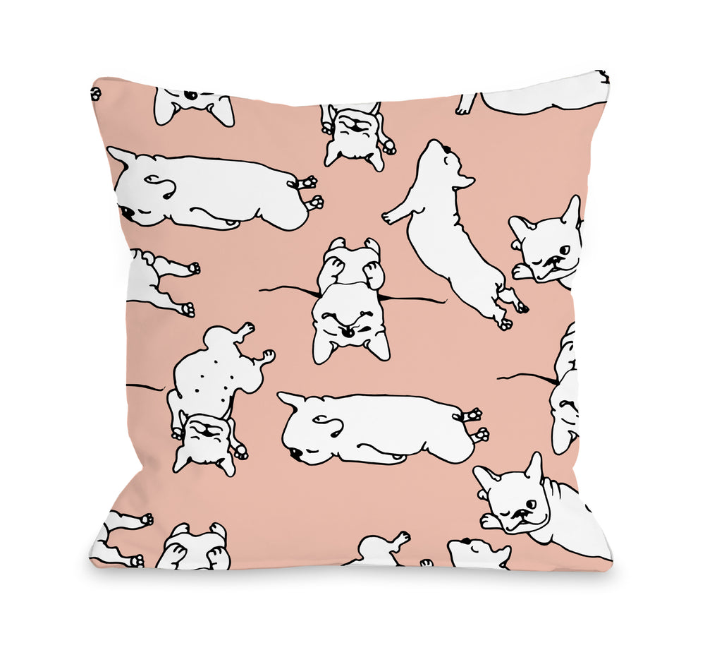 Sleepy Puppies - Peach Multi 18x18 Pillow by OBC