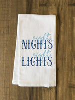 Eight Nights Eight Lights - Blue Tea Towel by OBC