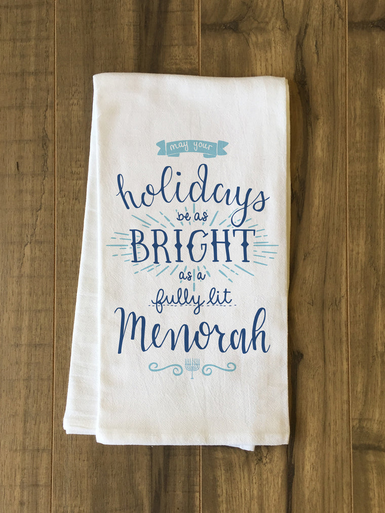 Fully Lit Menorah Kitchen Towel by OBC