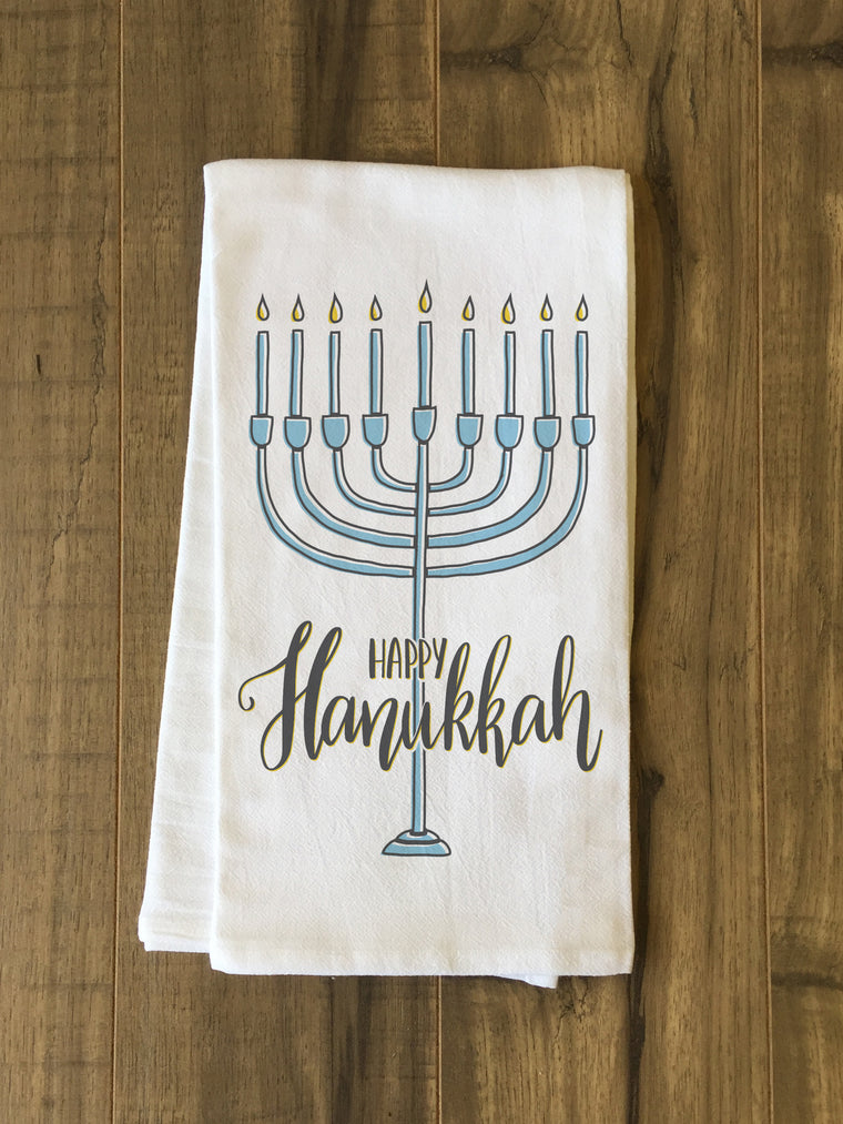 Happy Hanukkah Menorah Kitchen Towel by OBC