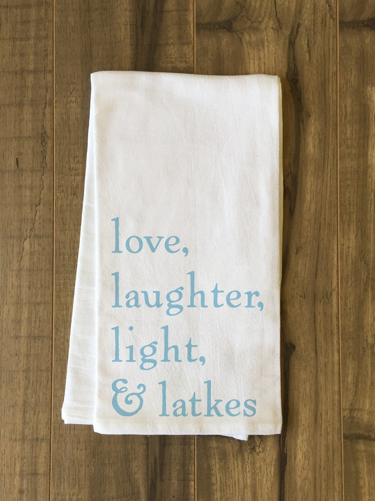 Love Laughter Light Latkes - Blue Tea Towel by OBC