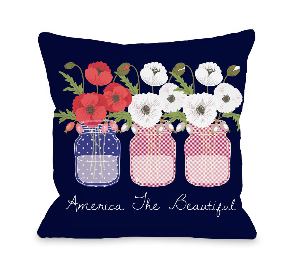 America The Beautiful - Navy Pillow by OBC