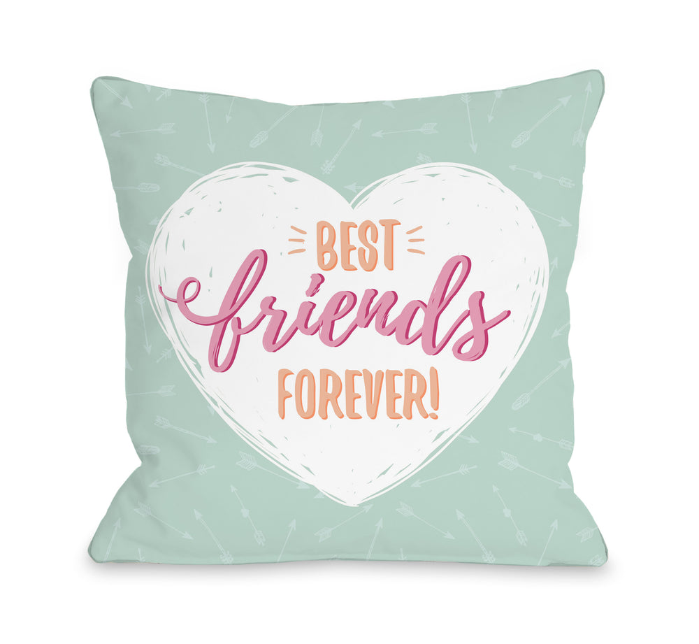 Best Friends Forever - Mint 18x18 Pillow by OBC