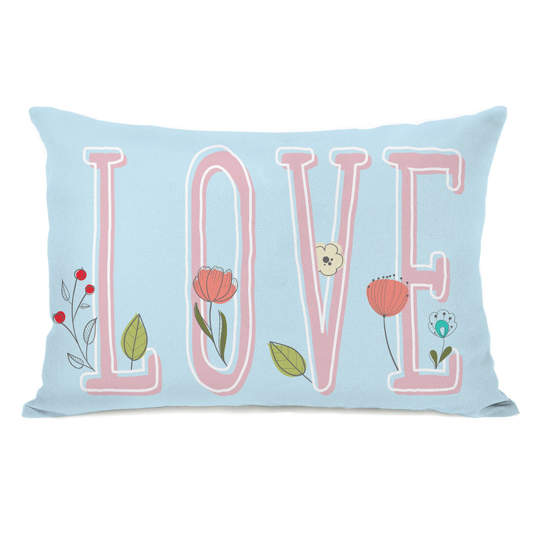 Floral Love - Blue 14x20 Pillow by OBC