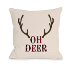Oh Deer Antlers - Tan Throw Pillow by OBC