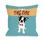 Boston Terrier You Me - Blue 18x18 Pillow by Ginger Oliphant