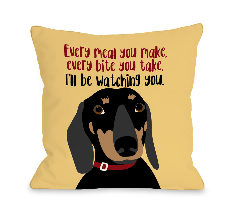 Dachshund Every Meal You Make - Yellow 18x18 Pillow by Ginger Oliphant