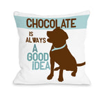 Lab Chocolate is Always a Good Idea - White 18x18 Pillow by Ginger Oliphant
