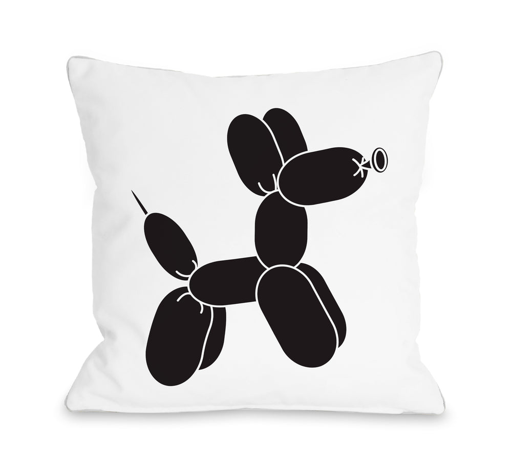 Balloon Dog Black  - Throw Pillow by OBC