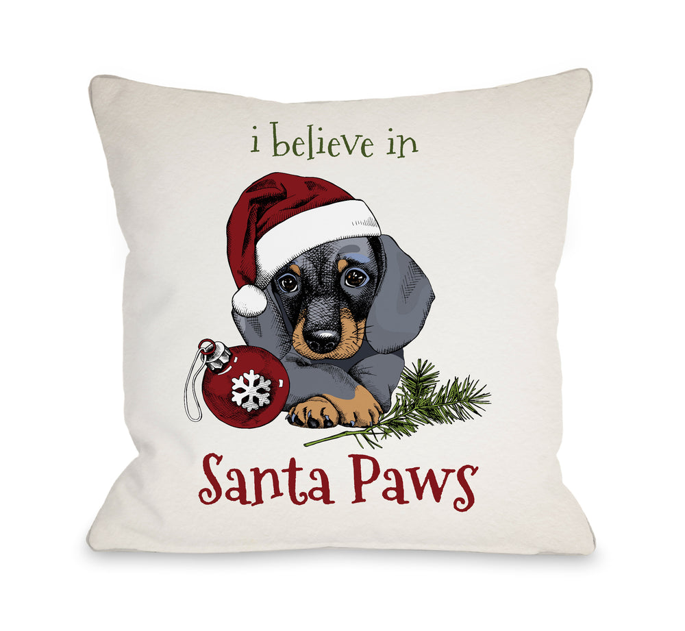 I Believe in Santa Paws  - Tan Throw Pillow by OBC