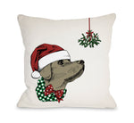 Mistletoe Christmas Dog  - Tan Throw Pillow by OBC