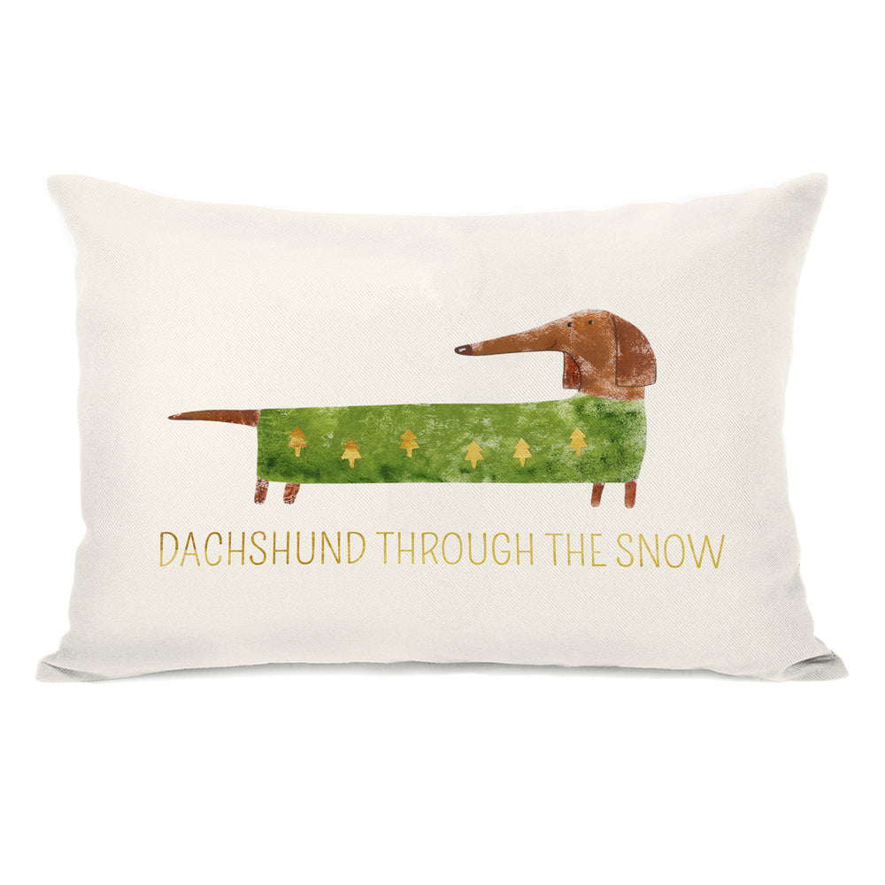 Dachshund Through The Snow - Tan Throw Pillow by OBC