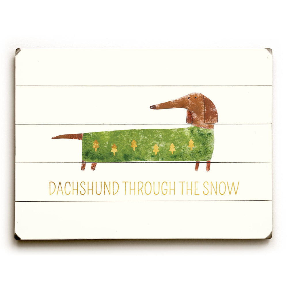 Dachshund Through The Snow - Tan Planked Wood Wall Decor by OBC