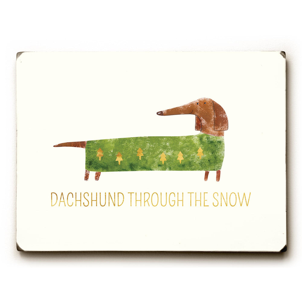 Dachshund Through The Snow - Tan Solid Wood Wall Decor by OBC