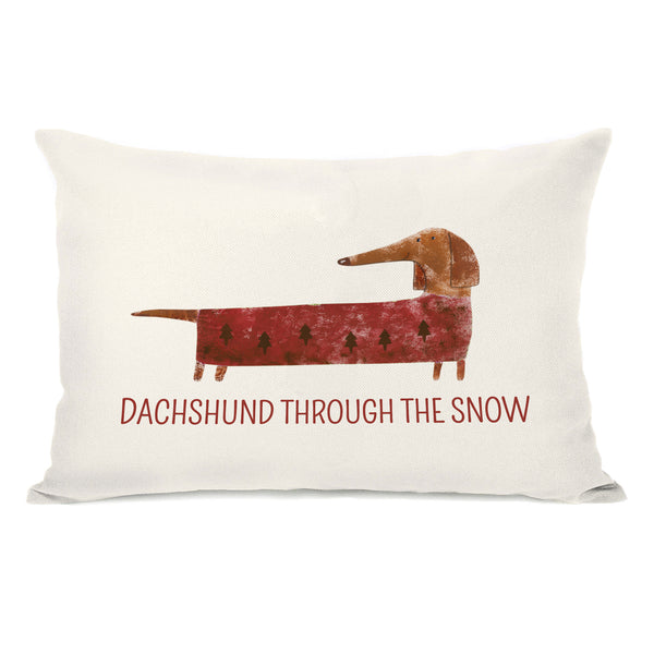 Dachshund Through The Snow Red Throw Pillow by OBC