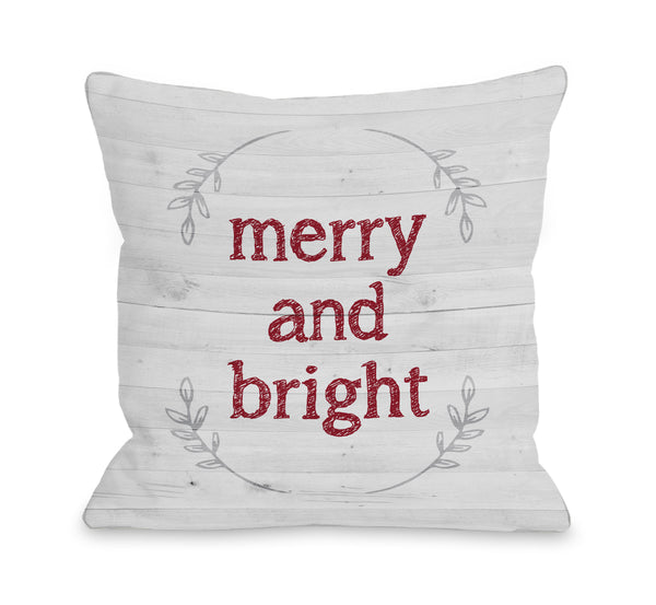 Merry and Bright Wood Throw Pillow by OBC